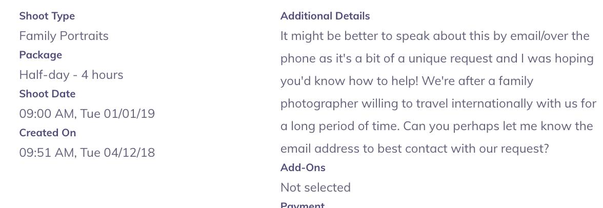 booking detail screenshot image
