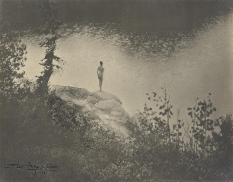 female nude standing on large rock over a lake 1923.jpgLarge image