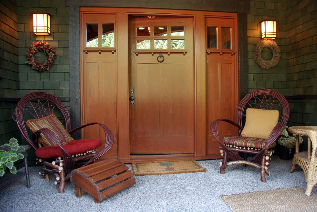 front porch and entrance of craftsman style bungalow picture id931032258