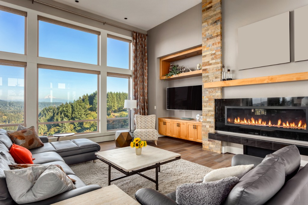living room in luxury home with amazing mountain view picture id531009983
