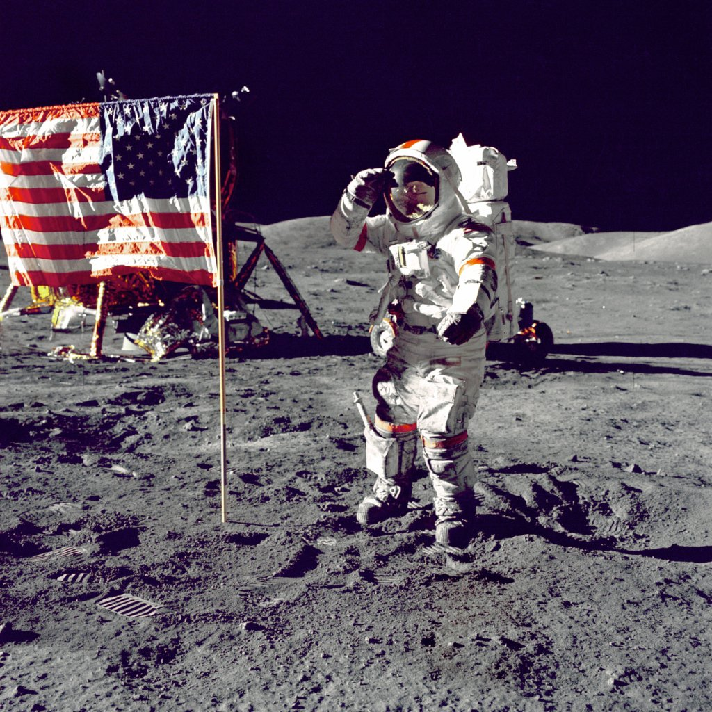 first man on the moon image