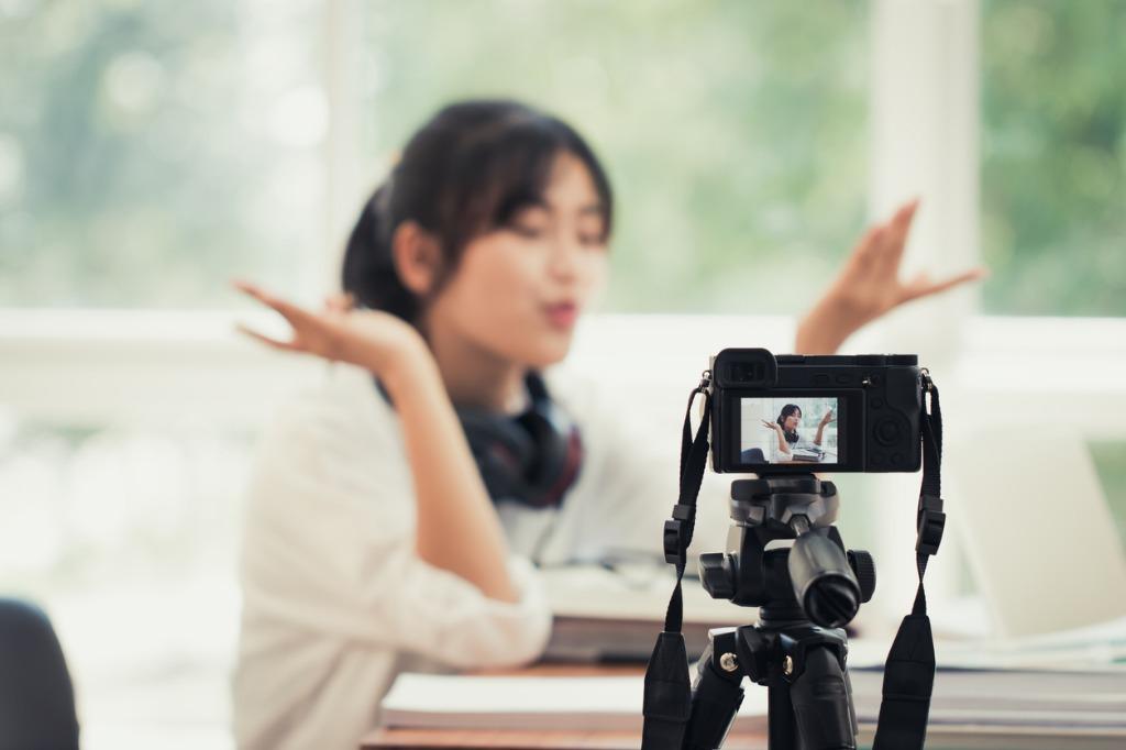 vlogger recording  image