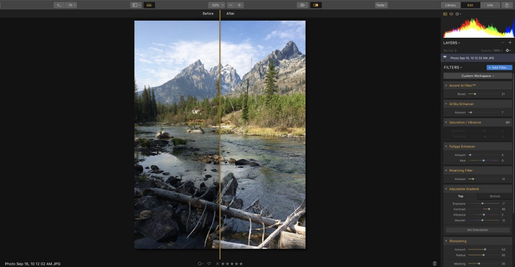 luminar 3 before and after image