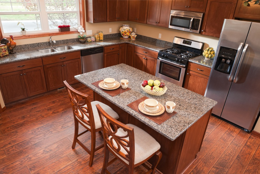 elevated view looking down into a warm modern kitchen picture id155098316