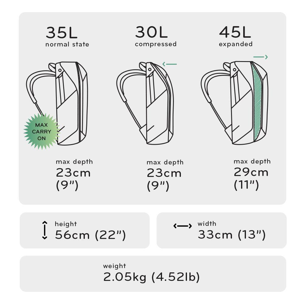 peak design travel backpack dimensions image