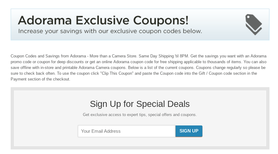 adorama photo coupon image