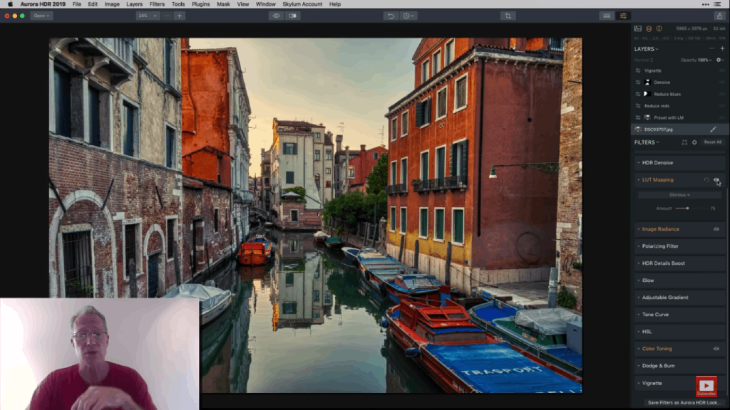 sample workflow for hdr editing filters  image