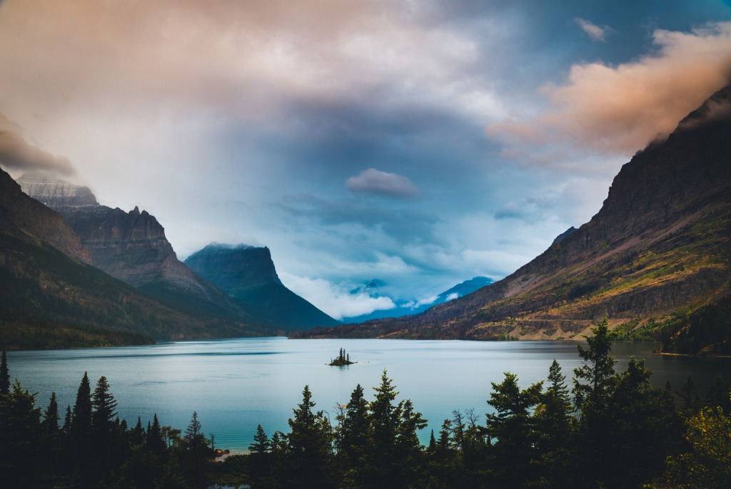 wild goose island under colorful clouds glacier national park montana picture id629443400 image