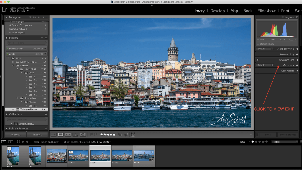 How to View EXIF Data in Lightroom 1 image