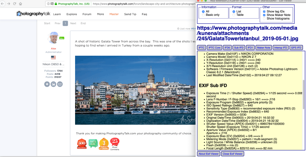 how to view exif data in firefox image