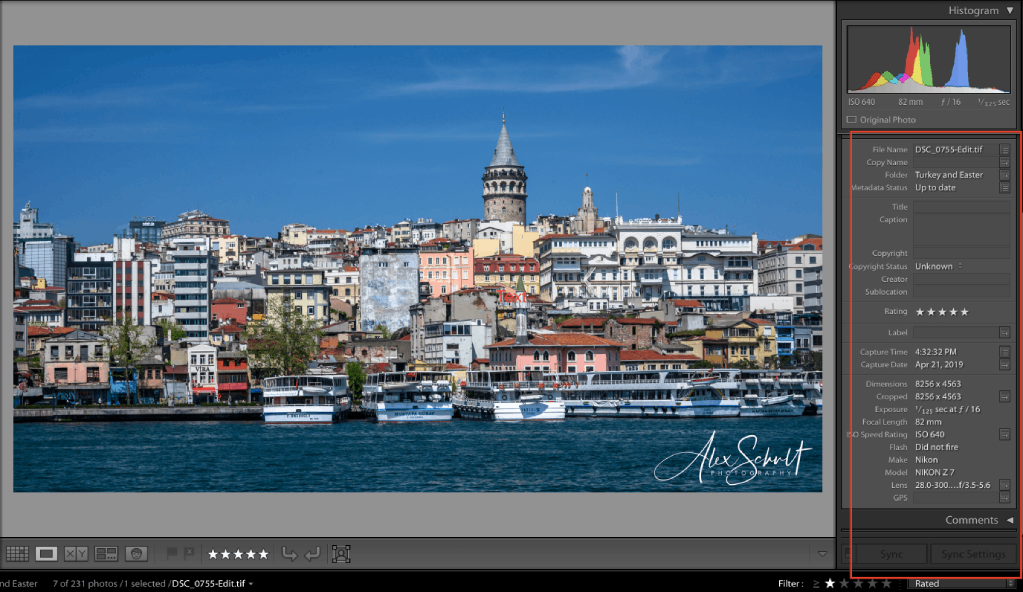 how to view exif data in lightroom 2 image