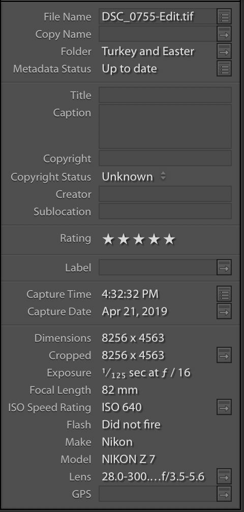 how to view exif data in lightroom 3 image