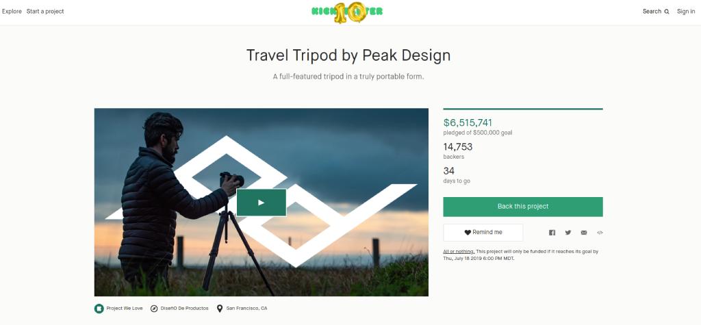 peak design travel tripod kickstarter image