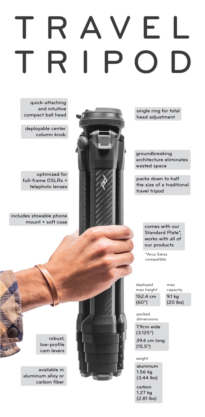 peak design travel tripod specs image