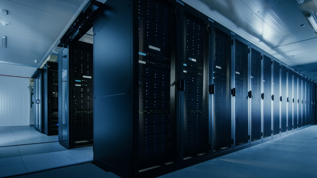 shot of a working data center with rows of rack servers led lights picture id1131198395