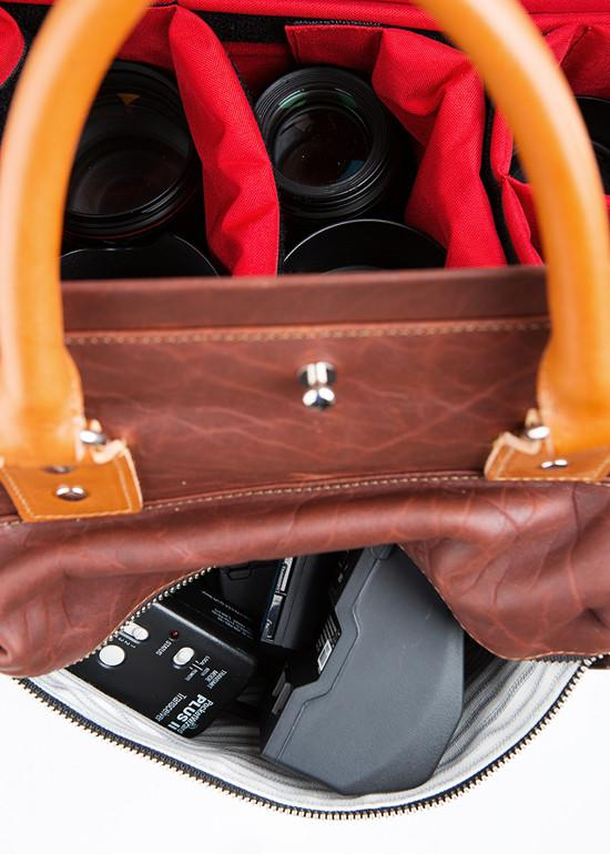 leather camera bag image