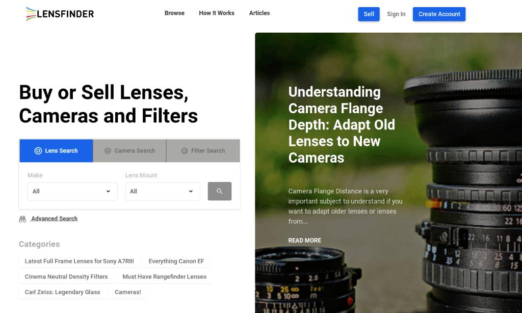 lensfinder homepage image