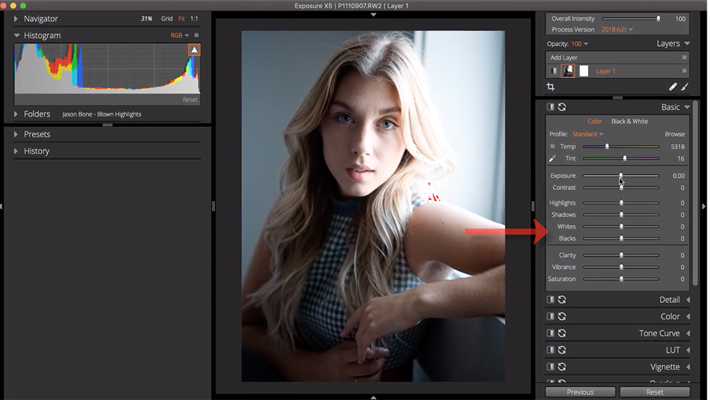 reduce blown out highlights 1 image