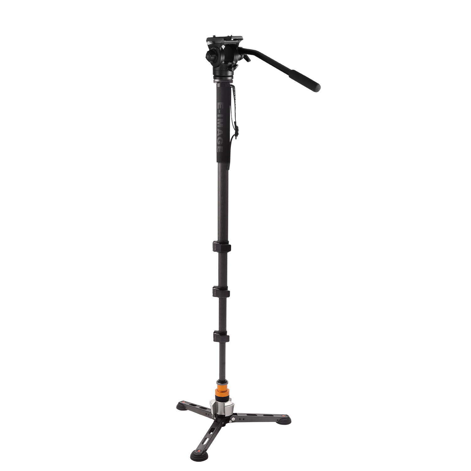 E Image 4 Stage Hands Free Carbon Fiber Monopod With Fluid Head image