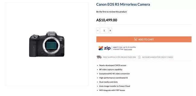 canon eos r5 price listing