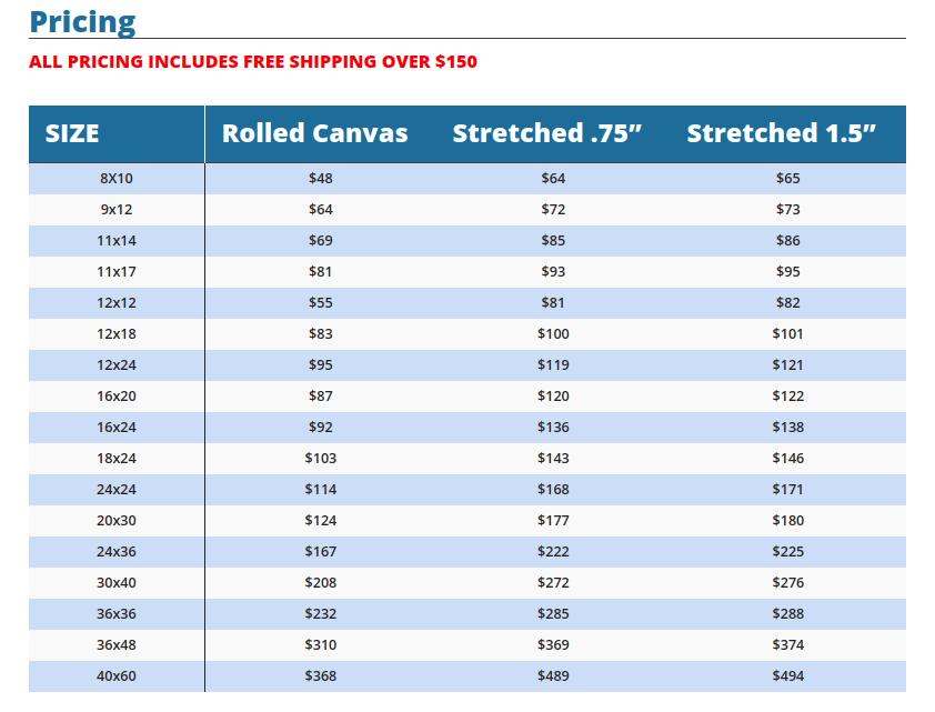 metallic canvas print pricing image