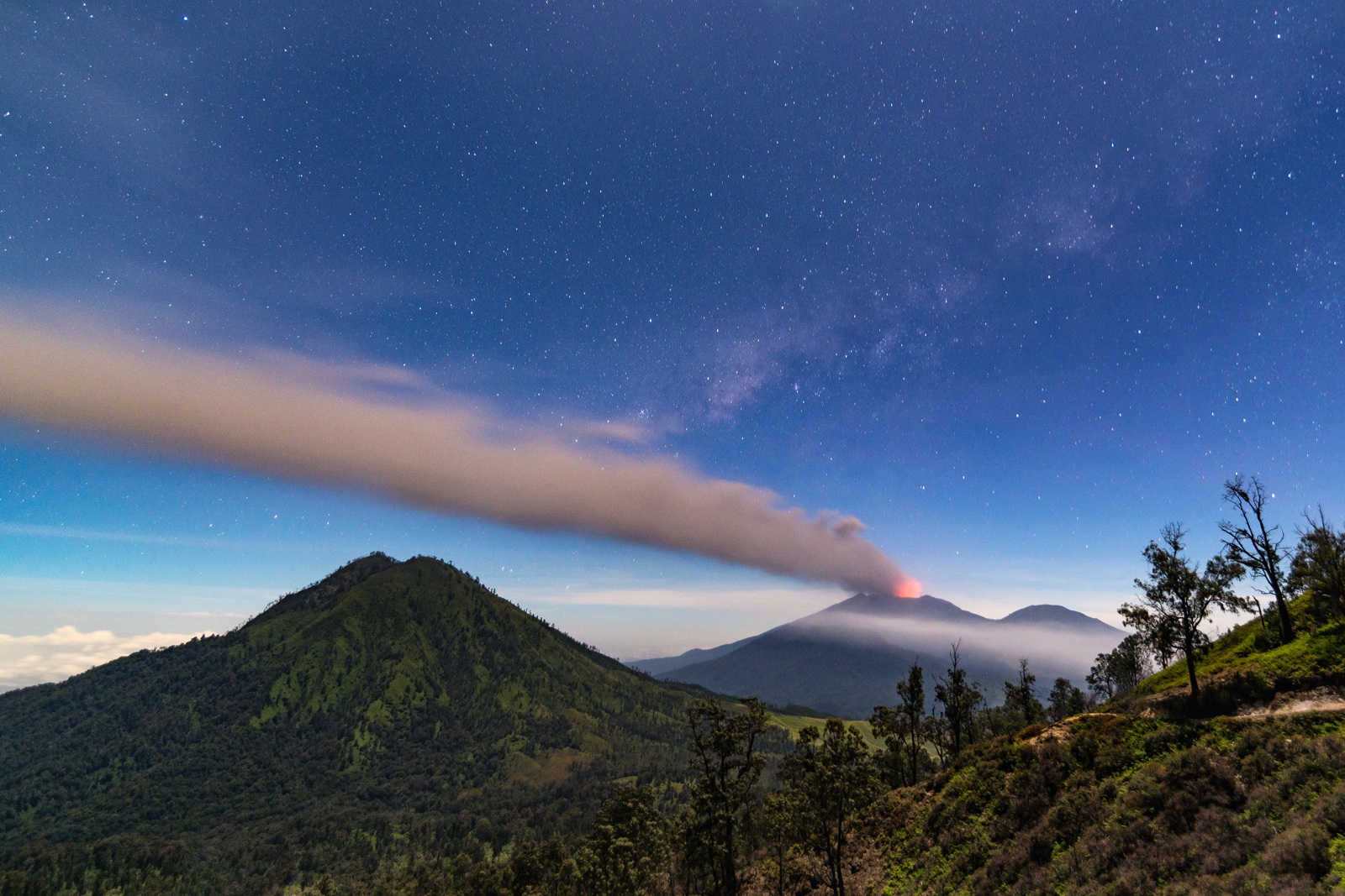 Mount Raung erupting under the stars.