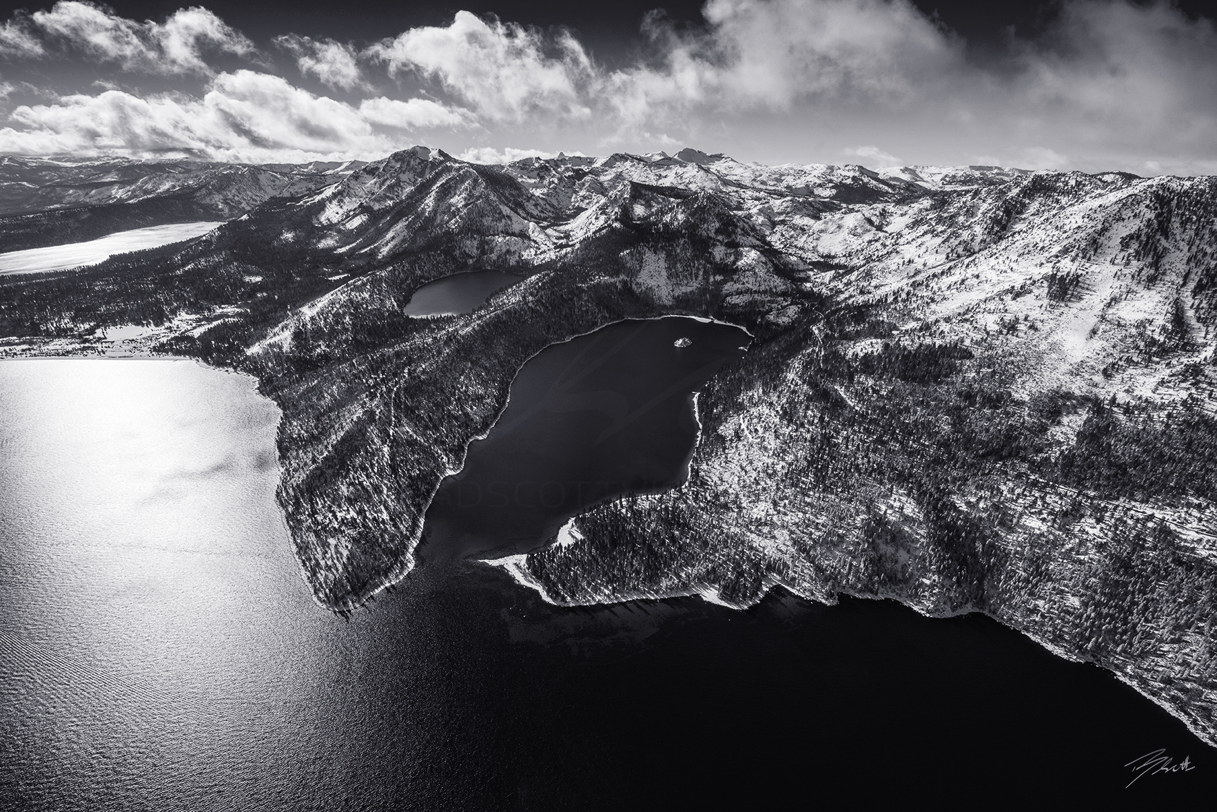 Emerald Bay & Desolation Aerial black and white