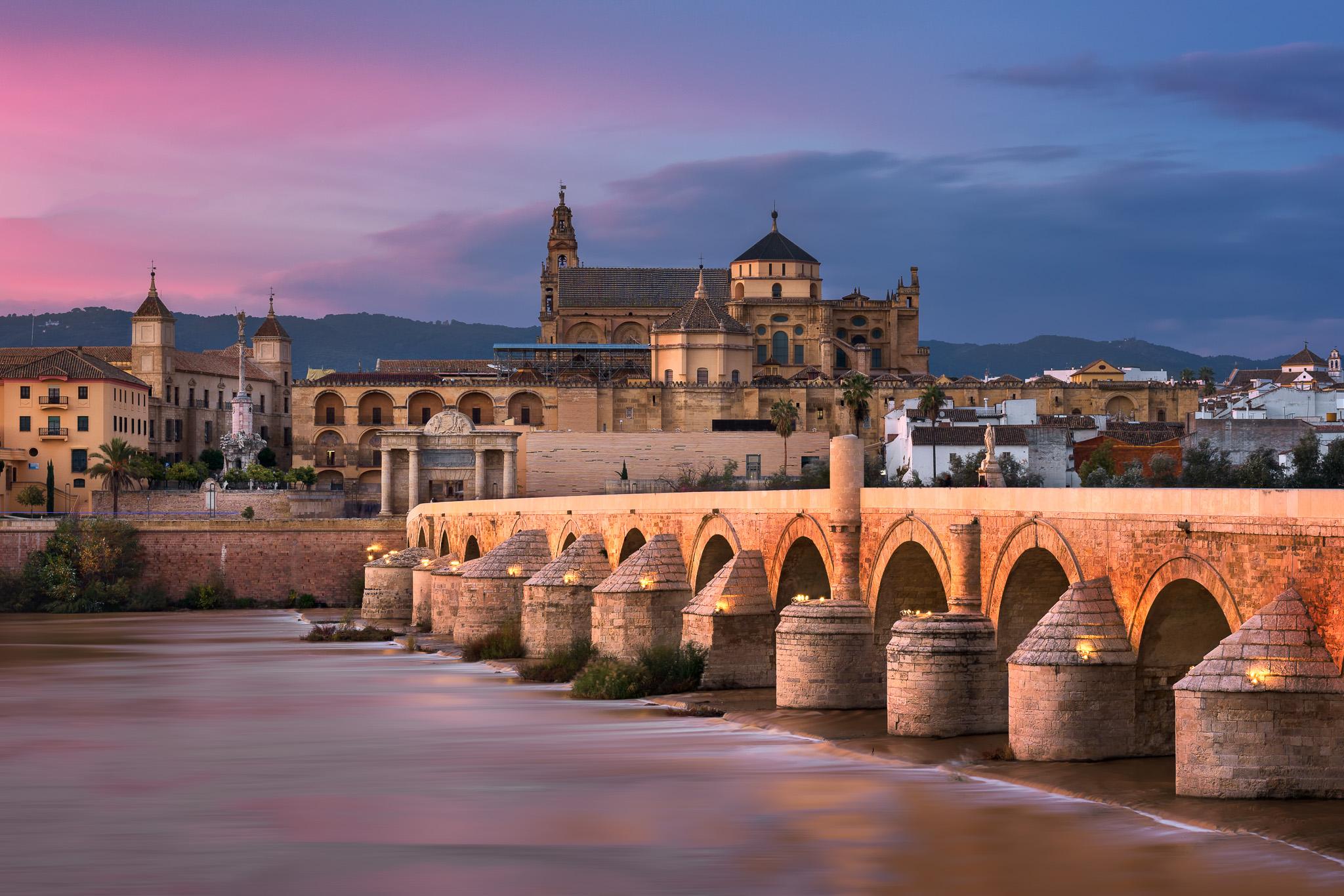 Roman-Bridge-and-Cordoba-Skyline-at-Sunset-Andalusia-Spain