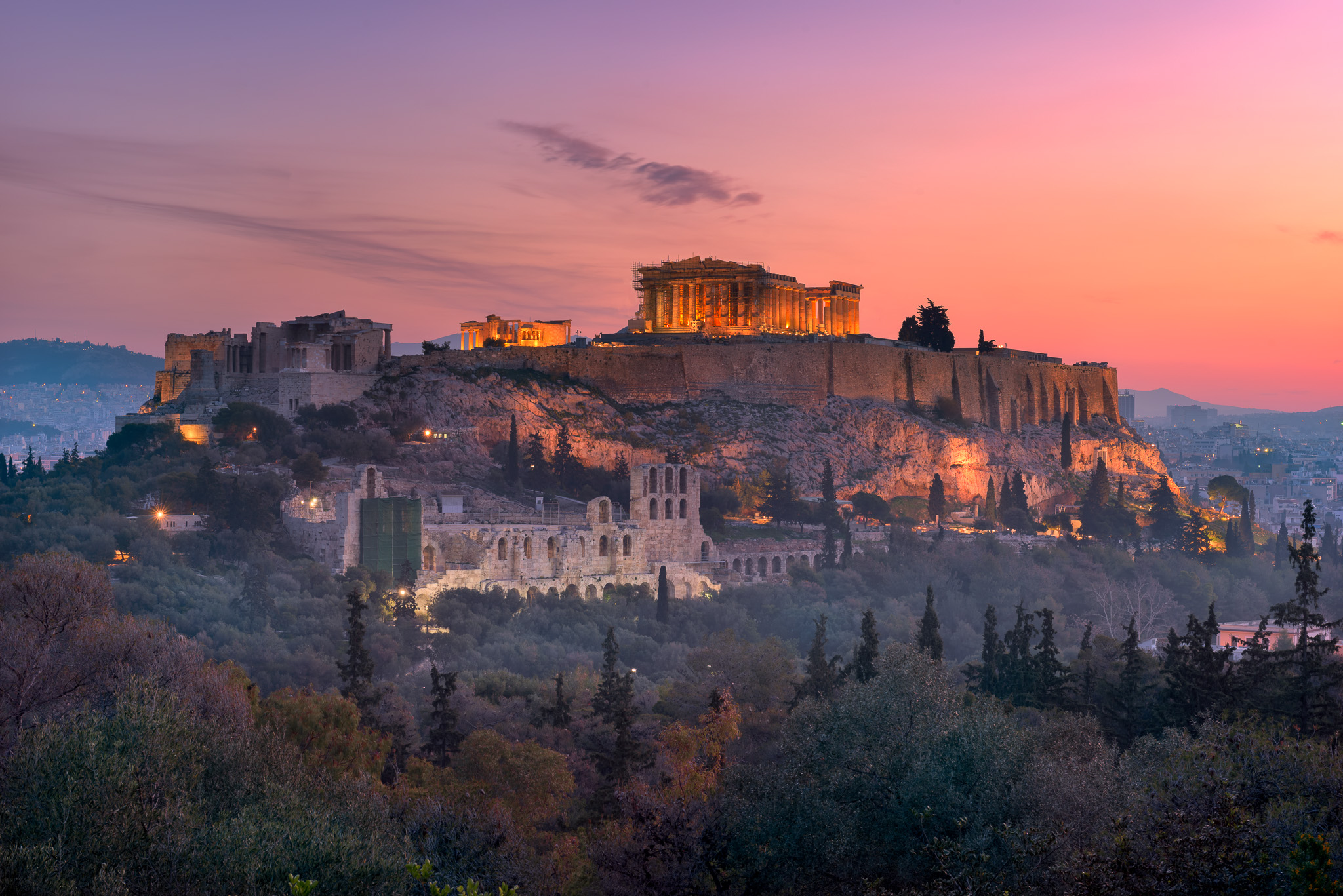 View of Acropolis from the Philopappos Hill in the Morning