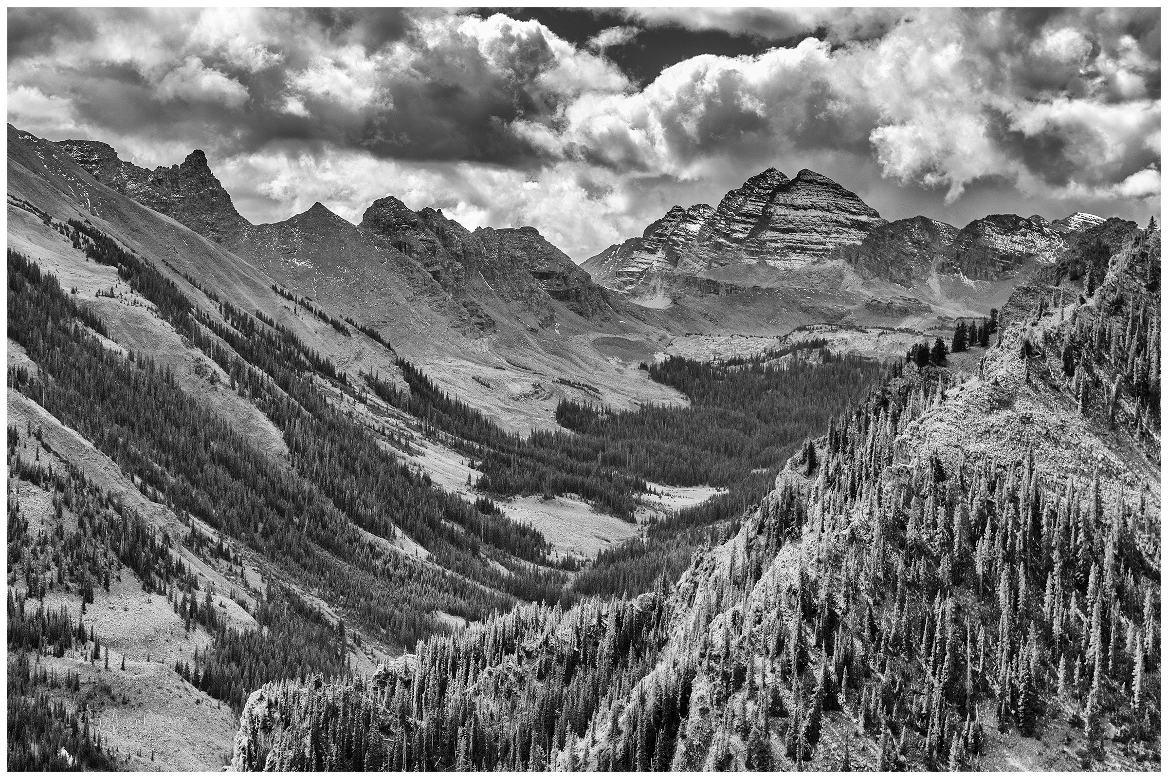 The Maroon Bells in Black & White