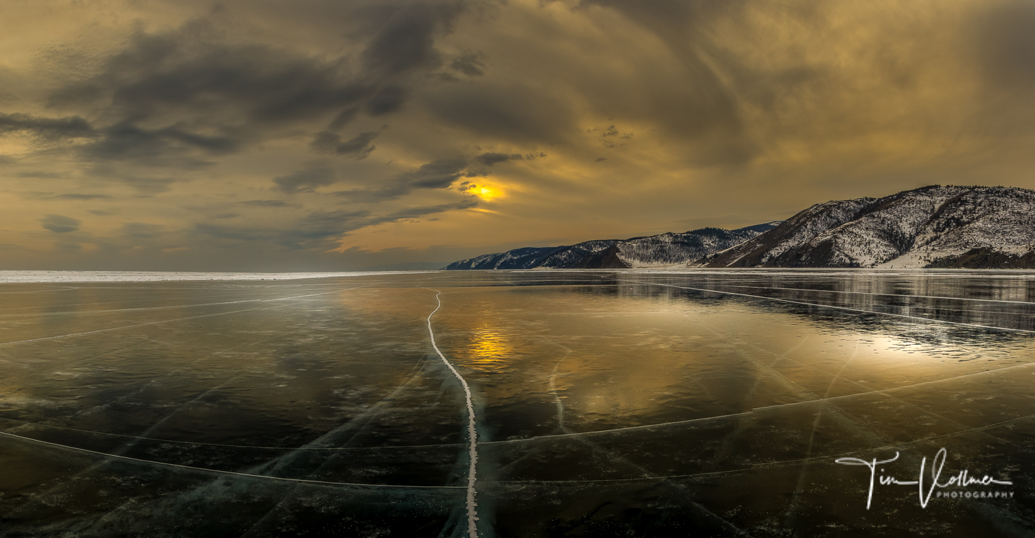 Sunset over the Lake Baikal