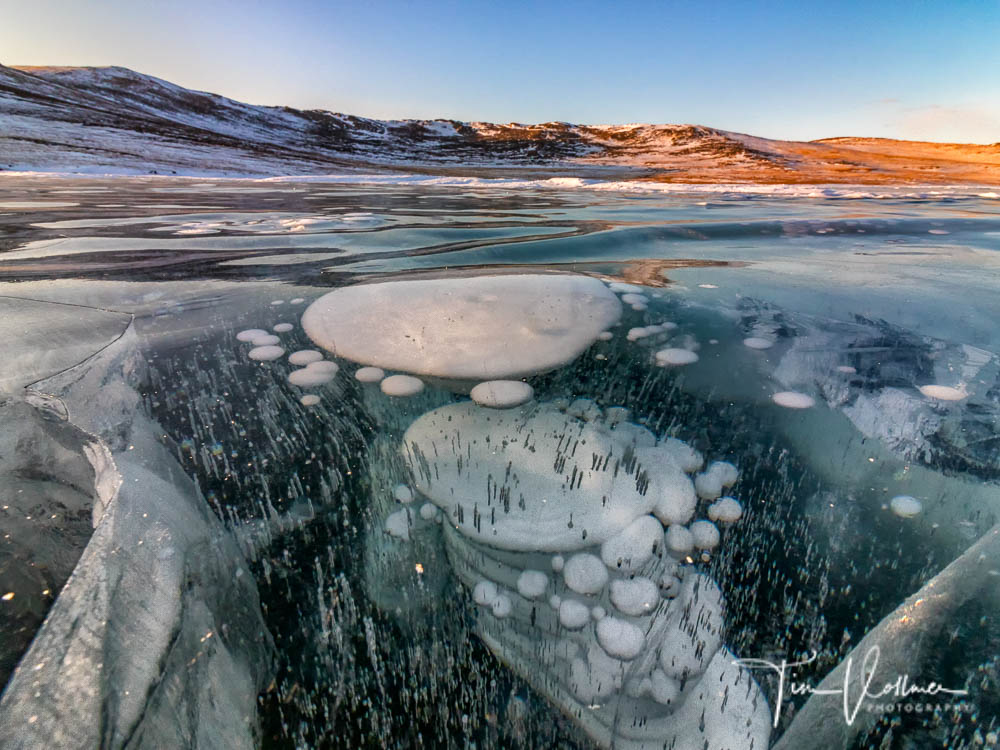 Frozen methane gas bubbles.