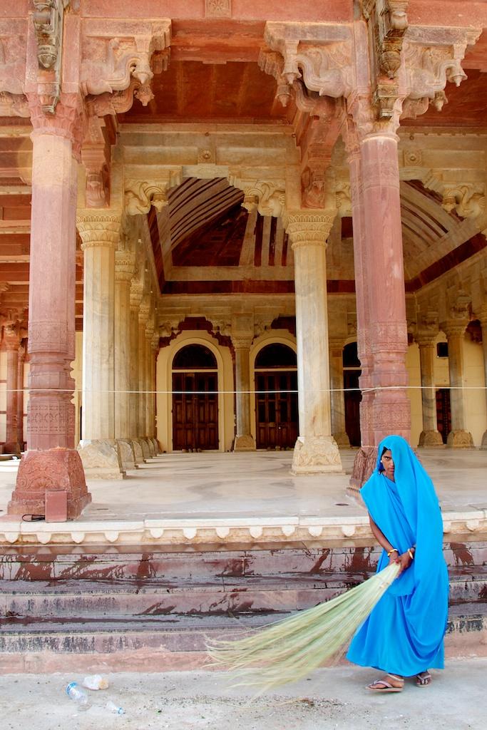 Jaipur, India - Girl in Blue Peeking Out Behind Veil - Copyright 2011 Ralph Velasco image