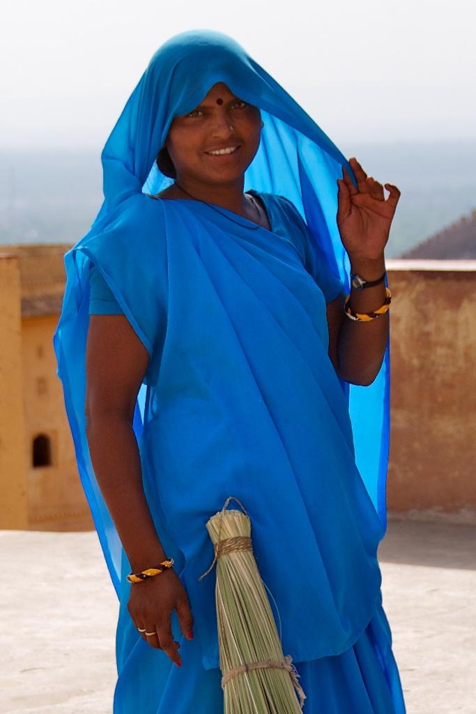 Jaipur, India - Girl in Blue Posing at Amber Palace - Copyright 2011 Ralph Velasco image